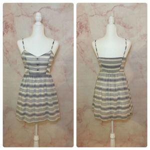 En Creme Blue & Ivory Striped Dress NWT - S